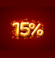 sale 15 off ballon number on red background vector image vector image