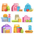 school lunch and meal boxes containers and vector image vector image