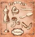 Scrapbook Design Elements - Vintage Lady Set - vector image