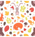 seasonal seamless pattern with adorable wild vector image vector image