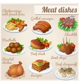 set food icons meat dishes vector image vector image