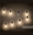 set of light bulbs garlands on transparent vector image vector image