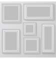 set white photo frames on grey background vector image