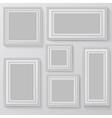 set white photo frames on grey background vector image
