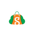 shopping bag cloud sale logo vector image