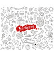 sketch barbecue party elements set vector image vector image