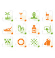 stylized sea marine and holiday icons vector image vector image