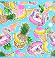 summer seamless pattern with unicorn and pineapple vector image