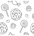 sweet cartoon outline candies seamless pattern vector image vector image