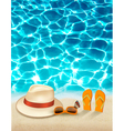 Vacation background with blue sea a hat and vector image