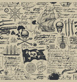 vintage seamless pattern on pirate theme vector image vector image