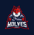 wolves mascot logo design with modern vector image