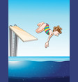 woman diving in the pool vector image