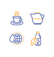 world water milk jug and tea cup icons set water vector image vector image