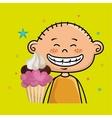 boy cup cake dessert vector image