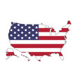 united states of america map with flag north vector image