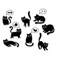 a set black cats a collection cartoon cats vector image vector image