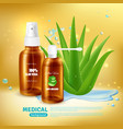 aloe medical spray background vector image vector image