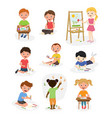 artist young school kids children making creative vector image vector image