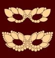 beige carnival masks on brown background vector image