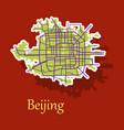 beijing city map sticker vector image vector image
