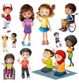 boys and girls doing different activities vector image vector image