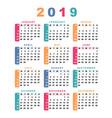 calendar 2019 week starts with sunday vector image