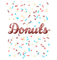 card with decorative donut sprinkles vector image vector image