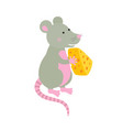 cartoon hand-drawn character mouse with a piece of vector image vector image