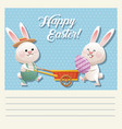 cartoon happy easter couple bunny egg vector image vector image