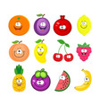 cartoon set of different fruits smiling peach vector image