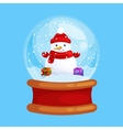 christmas snowman holding present in globe glass vector image vector image
