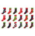 christmas socks cartoon trendy flat clothing vector image