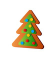 cute xmas fir tree gingerbread with colorful dots vector image vector image