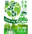 earth day holiday poster with green planet tree vector image vector image