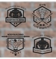 Emblems with posing bodybuilder vector image