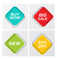 four square retro style sale tags with deal offer vector image vector image