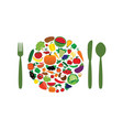 fruit and vegetable plate vector image vector image