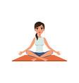girl sitting in yoga lotus position beautiful vector image