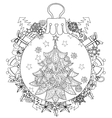 Hand drawn Christmas glass ball fir tree doodle vector image vector image