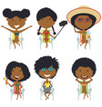 happy african-american female characters sitting vector image