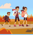happy family hikers dad mom and son trekking vector image vector image