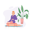 happy woman in bathrobe drinking tea and relaxing vector image vector image