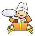 head cook character is holding a plate in the box vector image vector image