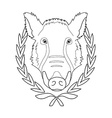 Hunting trophywild boar head in laurel wreath vector image vector image