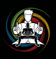 kung fu fighter martial arts action cartoon vector image