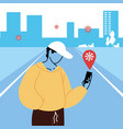 man with virus tracking location app vector image vector image