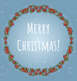 merry christmas boho lettering in a wreath of red vector image vector image