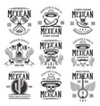 mexican national attributes black emblems vector image