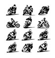 motorcycle racer set eps 10 moto gp icons vector image